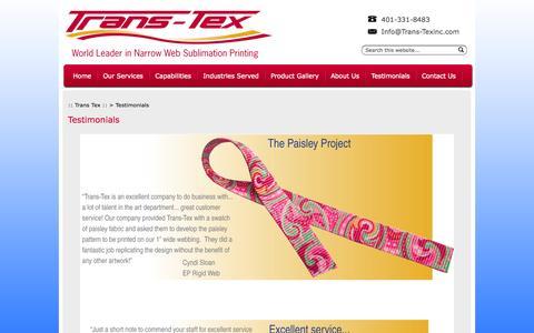 Screenshot of Testimonials Page trans-texinc.com - Testimonials ::: Trans Tex :: - captured Oct. 7, 2014