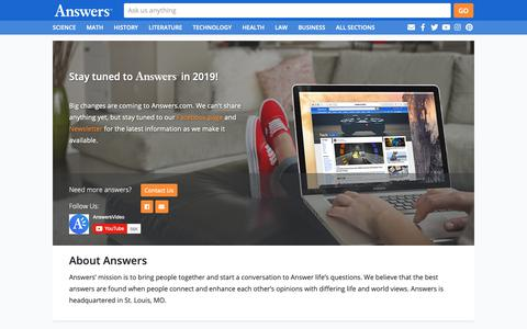 Screenshot of About Page answers.com - Answers - The Most Trusted Place for Answering Life's Questions - captured June 20, 2019