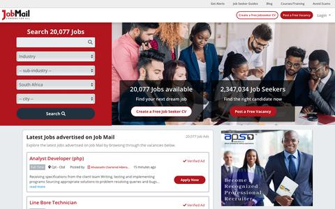 Screenshot of Home Page jobmail.co.za - Job Mail   Careers For All - captured Sept. 14, 2019
