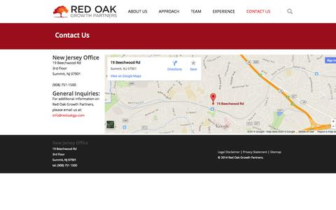 Screenshot of Contact Page redoakgp.com - Red Oak Growth Partners Contact Us | Red Oak Growth Partners - captured Oct. 6, 2014