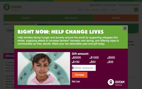 Screenshot of Press Page oxfamamerica.org - Press | Oxfam America - captured Dec. 2, 2015