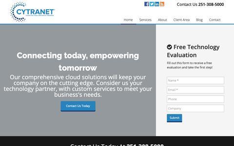 Screenshot of Home Page cytranet.com - Cytranet - Business Communication - IT Management - Phone - Cloud Services - captured Dec. 5, 2018