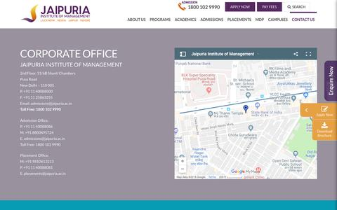 Screenshot of Contact Page jaipuria.ac.in - Reach Us   Best MBA Colleges in Delhi   Jaipuria Insitute of management - captured Sept. 22, 2018