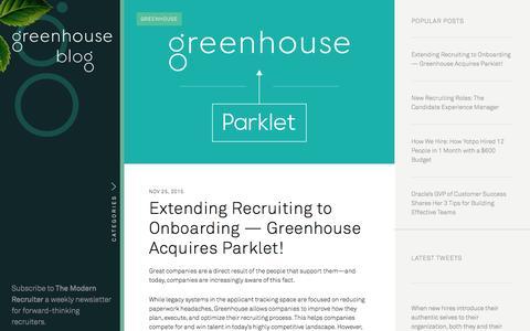 Screenshot of Blog greenhouse.io - The Greenhouse Blog - captured Dec. 1, 2015