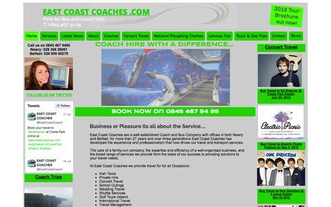 Screenshot of Home Page eastcoastcoaches.com - East Coast Coaches Newry & Belfast Coach and Bus Hire, Tours, Event Travel - captured July 18, 2015