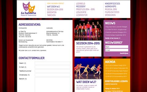 Screenshot of Contact Page latalentia.nl - Contact - captured Oct. 22, 2014