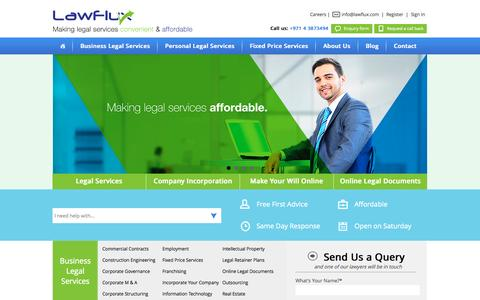 Screenshot of Home Page lawflux.com - Law firm in Dubai: Legal consultants UAE | Lawyers in Dubai - captured Sept. 19, 2014