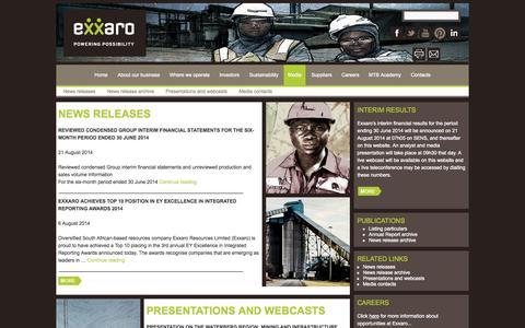 Screenshot of Press Page exxaro.com - Media | Exxaro - captured Oct. 3, 2014