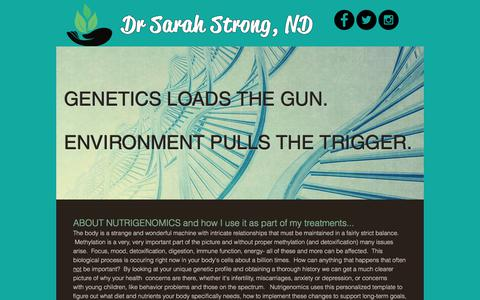 Screenshot of About Page drsarahstrong.com - About Nutrigenomics - captured Aug. 14, 2017