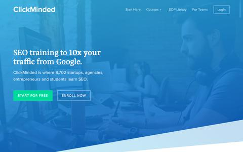 Screenshot of Home Page clickminded.com - SEO Training to 10x Your Traffic from Google (2018) - ClickMinded - captured May 31, 2018