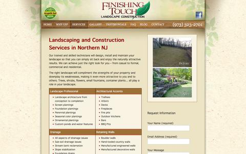 Screenshot of Services Page finishingtouchlandscape.com - Landscape Services | Retaining Walls | Backyard Landscape Design - captured Oct. 13, 2017