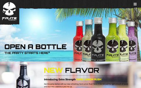 Screenshot of Home Page pirate-energy.com - Pirate Energy Shots - The Party Starts Here® - captured June 17, 2015