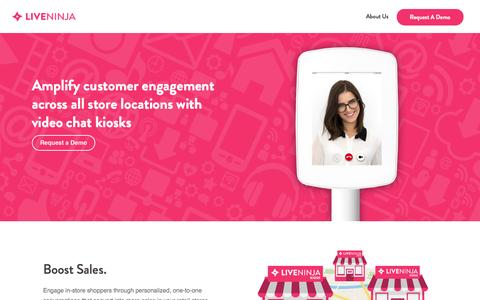 Screenshot of liveninja.com - LiveNinja Video Chat Kiosks for Retail Stores - captured May 6, 2016