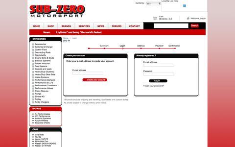 Screenshot of Login Page subzeromotors.com - Subzero MotorSports - captured June 16, 2017