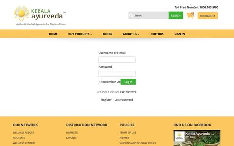 Screenshot of Login Page keralaayurveda.biz - Login - Kerala Ayurveda Limited - captured Jan. 17, 2017
