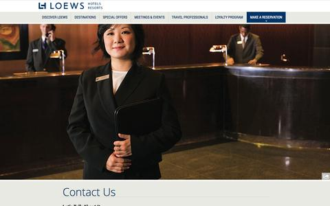 Screenshot of Contact Page loewshotels.com - Hotel Contact Information | Loews Luxury Hotel and Resorts - captured Oct. 28, 2014