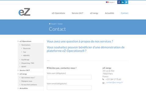 Screenshot of Contact Page ez-nergy.fr - Contact - eZ-nergy - captured Nov. 15, 2016