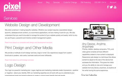 Screenshot of Services Page pixelsweatshop.com - Services | Pixel Sweatshop - captured July 13, 2016