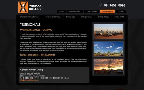 Screenshot of Testimonials Page winmaxdrilling.com.au - Testimonials - Winmax Drilling Pty Ltd - captured Sept. 30, 2014