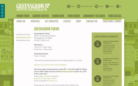 Screenshot of Locations Page greensgrow.org - Greensgrow Farms | Greensgrow : Greensgrow - captured Sept. 30, 2018