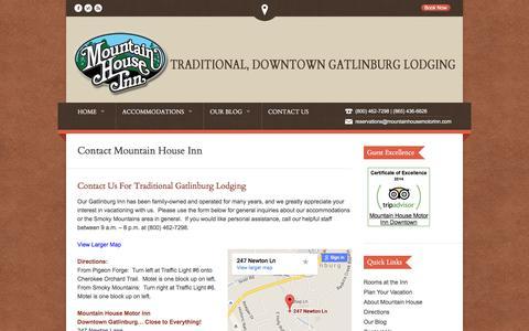Screenshot of Contact Page Maps & Directions Page mountainhousemotorinn.com - Contact Mountain House Motor Inn Downtown Gatlinburg Hotel - captured June 17, 2016