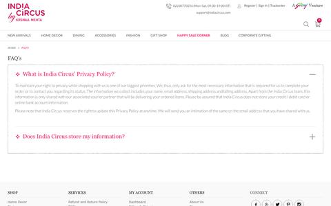 Screenshot of FAQ Page indiacircus.com - FAQ's - captured June 8, 2018