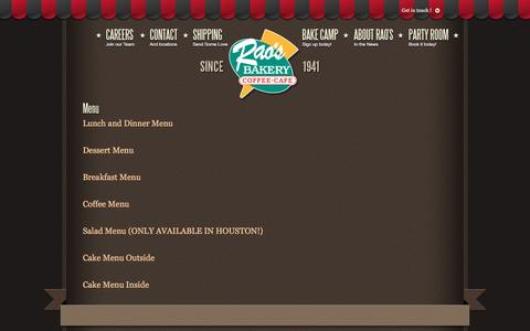 Screenshot of Menu Page raosbakery.com - Menu | Rao's Bakery - captured June 18, 2016