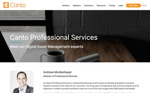 Screenshot of Team Page canto.com - Meet Our Experts - captured March 13, 2019