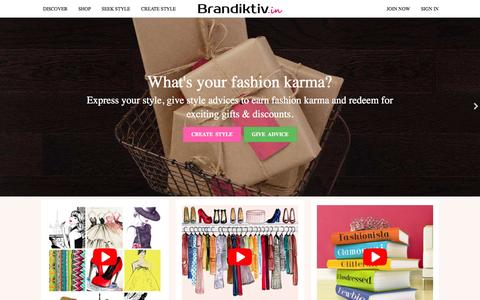 Screenshot of Home Page brandiktiv.in - Online Shopping India - Shop socially, latest womens fashion - captured Feb. 14, 2016