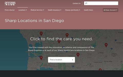 Screenshot of Locations Page sharp.com - Sharp Locations in San Diego - captured May 8, 2017