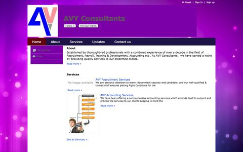 Screenshot of Home Page avyconsultants.com - AVY Consultants - captured Sept. 30, 2014