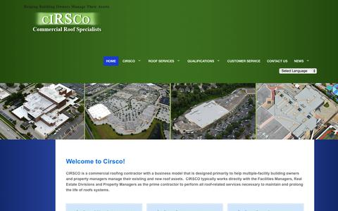 Screenshot of Home Page cirscocontracting.com - Commercial Roofing Contractor, Cirsco, Inc. | Helping Building Owners Manage Their Assets - captured Oct. 1, 2014