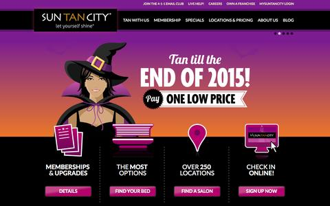 Screenshot of Home Page suntancity.com - Sun Tan City - Tanning Salons Near Work and Home - captured Oct. 16, 2015
