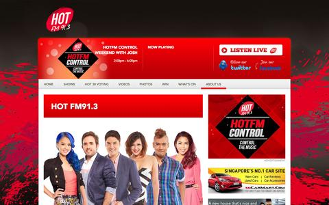 Screenshot of About Page hotfm.sg - About Us - Singapore's Hottest Hits HOT FM91.3 - captured Oct. 26, 2014
