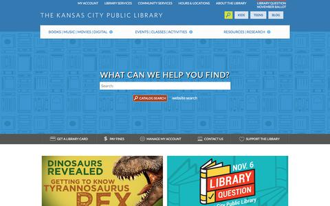 Screenshot of Home Page kclibrary.org - Kansas City Public Library - captured Sept. 24, 2018