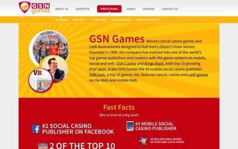 Screenshot of Press Page gsngames.com - Press Room - GSN Games - captured Nov. 1, 2014