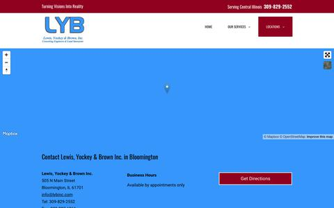 Screenshot of Locations Page lybinc.com - Contact Lewis, Yockey & Brown Inc. Bloomington 309-829-2552 - captured Sept. 28, 2018