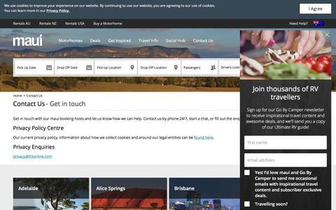 Screenshot of Contact Page maui-rentals.com - Contact Us - Maui Motorhomes Australia - captured June 8, 2018