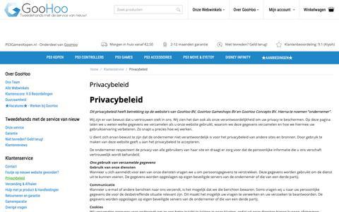 Screenshot of Privacy Page ps3gameskopen.nl - Privacybeleid van GooHoo - captured Oct. 21, 2018