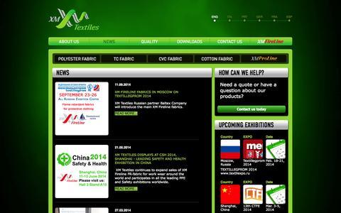 Screenshot of Press Page xmtextiles.com - News - XM Textiles - captured Oct. 4, 2014
