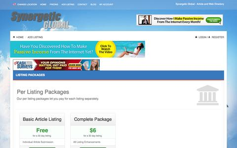 Screenshot of Pricing Page synergetic-global.com - Add Listing - Synergetic Global Synergetic Global - captured Oct. 26, 2014