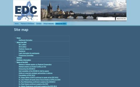 Screenshot of Site Map Page defenceconference.eu - Site map - European Defence Conference 2012 - captured Oct. 1, 2014