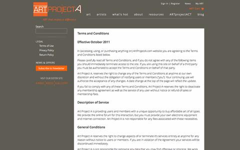 Screenshot of Terms Page artprojecta.com - ART Project A | Art on line | Contemporary Art Gallery - captured Sept. 30, 2014