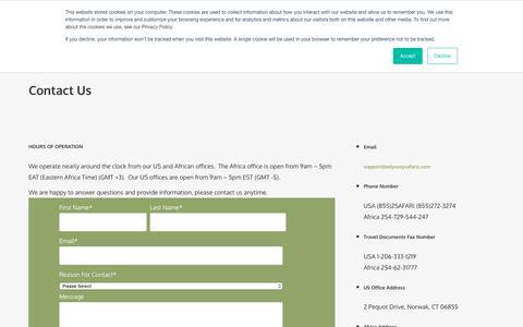 Screenshot of Contact Page odysseysafaris.com - Contact Us - Odyssey Safaris - Experience Africa - captured Sept. 24, 2018