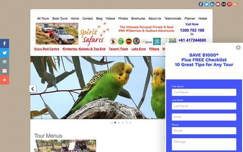 Screenshot of Menu Page spiritsafaris.com - Menus - captured June 15, 2017