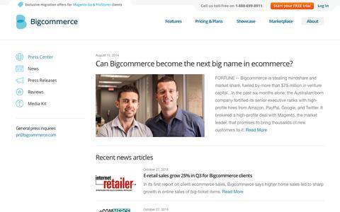 Screenshot of Press Page bigcommerce.com - Press Center | Bigcommerce - captured Oct. 29, 2014