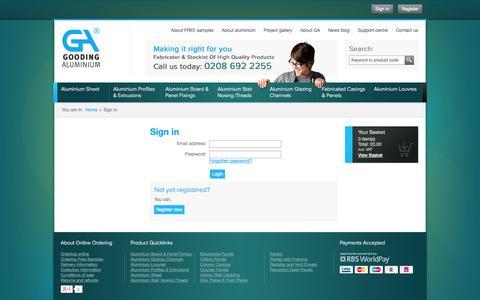 Screenshot of Login Page goodingalum.com - GA Gooding Aluminium - Sign in - captured Sept. 19, 2014