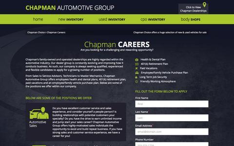 Screenshot of Jobs Page chapmanchoice.com - Careers | Chapman Automotive Group in Arizona & Nevada - captured Jan. 27, 2016