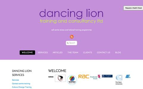 Screenshot of Home Page dancinglion.com - International customer service training for call and contact centres - captured Oct. 5, 2014