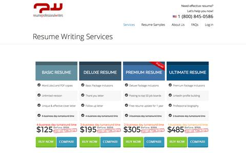 Screenshot of Services Page resumeprofessionalwriters.com - Resume Writing Service - Resume Professional Writers - captured Aug. 16, 2016